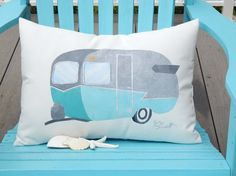 Outdoor pillow TRAVEL TRAILER camper caravan by crabbychris Perfect for your camper Erin!