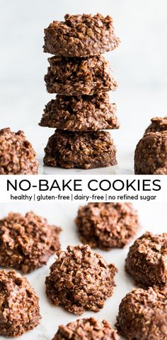 Healthy No-Bake Chocolate Peanut Butter Cookies! With only 8 good-for-you ingredients, they're a delicious treat you can feel great about eating! # no bake desserts Healthy No-Bake Chocolate Peanut Butter Cookies - JoyFoodSunshine Healthy Dessert Recipes, Healthy Baking, Healthy Treats, Simple Recipes, Peanut Butter Healthy Snacks, Eating Healthy, Healthy Baked Snacks, Cookie Recipes, Healthy Food