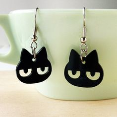 Handmade Gifts | Independent Design | Vintage Goods Grumpy Kitty Earrings