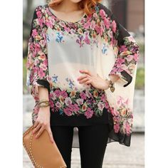 Bohemian Style Scoop Neck Floral Print Batwing Sleeve Chiffon Blouse For Women