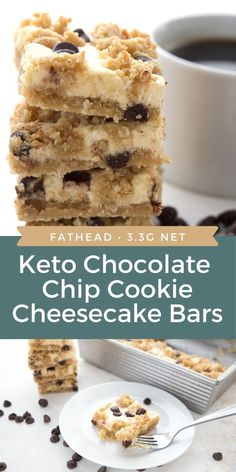 Two delectable keto desserts in one! These easy tender Chocolate Chip Cookie Cheesecake Bars will quickly become your favorite sugar-free treat. Easy to make and only net carbs per serving. Low Carb Chocolate Chip Cookies, Chocolate Chip Cookie Cheesecake, Keto Chocolate Chips, Keto Cheesecake, Keto Cookies, Chocolate Tarts, Cake Chocolate, Ketogenic Desserts, Keto Friendly Desserts