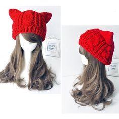 Warm Knitting Wool Cat Ear Beanie or Skullies Pint Kawaii Fashion, Cute Fashion, Red Fashion, Knit Beanie, Beanie Hats, Beanies, Mode Lolita, Knitted Hats, Crochet Hats