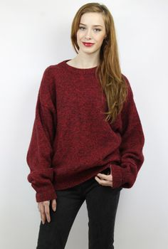 Vintage 90s Black + Red Oversized Wool Knit Sweater, fits S/M/L www.shopEBV.com