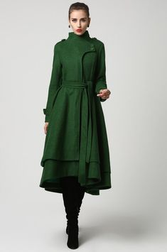 Womens Long Dark Green Wool Coat (1112)