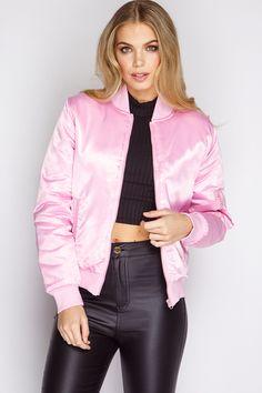 453ebe69dd4793 Alondra Pink Satin Bomber Jacket at misspap.co.uk Rosa Satin-bomberjacke