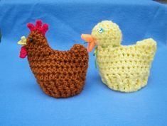 Previously I posted instructions for knitted chicken and duck Easter egg cozies on ravelry and had requests for crocheted versions. Here are are the requested instructions.