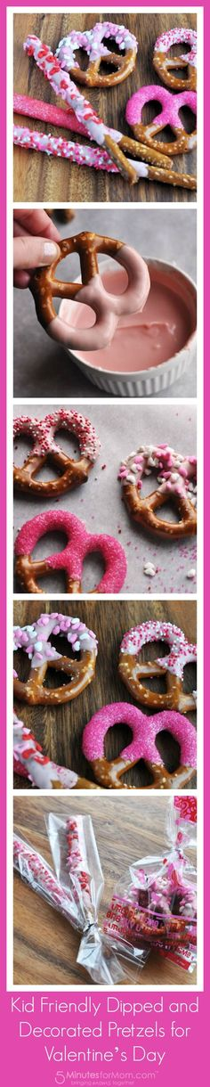Kid Friendly Dipped and Decorated Pretzels for Valentine's Day. This is a really spectacular cooking project to do with the kids for some Valentine's Day fun.