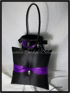 Black and Purple Gothic Wedding Ring Pillow and by CreativeBridal, $70.00