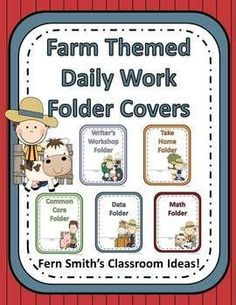 Farm Animal Themed Daily Work Folder Covers for Elementary Teachers ~ 268 Pages $
