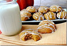 Iced Pumpkin Cookies ... made these months ago and brought 'em to work, they were a hit. Next time I have to drizzle so much icing, I'm not using a fork. lol  (not my pic) Recipe source linked.