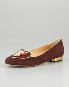 The Taurus symbol is decidely unsexy. Birthday Taurus Zodiac Smoking Slipper, Brown by Charlotte Olympia at Neiman Marcus.