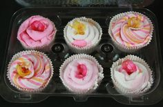 Sister's baby washcloth cupcakes for a baby shower