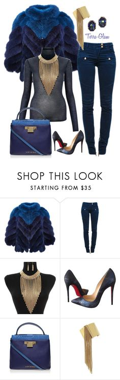 """""""Something Blue"""" by terra-glam ❤ liked on Polyvore featuring J. Mendel, Balmain, Christian Louboutin, Kurt Geiger, BCBGeneration and Yves Saint Laurent"""