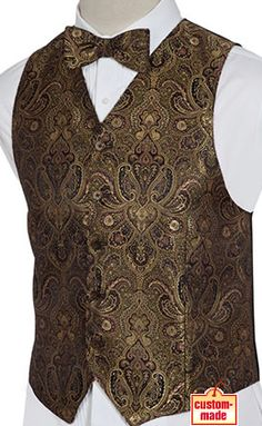 Men's Gold Black Paisley Brocade Vest - Vests by Charlotte Wedding Vest, Wedding Suits, Formal Wedding, Retro Fashion, Mens Fashion, Tuxedo Vest, Suit Vest, How To Look Pretty, Mens Suits
