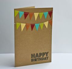 Birthday Card with Cheery Bunting Flag. $3.99, via Etsy.