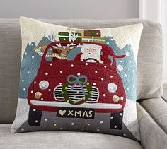 $59.50 18x18 100% cotton. Road Trip Santa Crewel Embroidered Pillow Cover #potterybarn