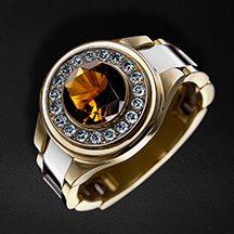 634a4fdaae6b Перстень мужской с гиацинтом и бриллиантами из комбинированного золота 750  пробы (арт. 22128)