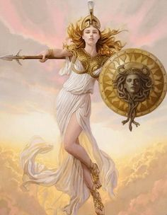 Athena is described as being beautiful, wearing scaled golden armour, helmet and a long dress with a hem of little snakes. Ancient Greek mythology also mentions that she sprung from her father's head fully armed. Her father was Zeus, and he made M. Rome Antique, Greek Gods And Goddesses, Greek And Roman Mythology, Medusa Greek Mythology, Greece Mythology, Athena Goddess, Greek Goddess Art, Minerva Goddess, Nagano
