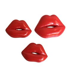 Patrick Kelly Paris 1988 red 'Lips' pins. | From a unique collection of vintage brooches at https://www.1stdibs.com/jewelry/brooches/brooches/ @1stdibscom #PatrickKellyParis #vintage #fashion