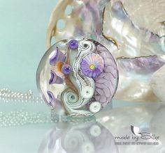 Handmade lampwork bead focal  lentil  SRA  art by calypsosbeads