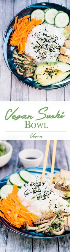 Healthy Vegan Sushi Bowl for Those Who Are Dead Inside Healthy Vegan Sushi Bowl with Seasoned Sushi Rice, Veggies, Teriyaki Mushrooms and Teriyaki Dipping Sauce. ♡With With or WITH may refer to: Sushi Fruit, Sushi Vegan, Sushi Bowl, Vegan Foods, Vegan Dishes, Raw Vegan, Vegan Vegetarian, Vegetarian Recipes, Healthy Sushi