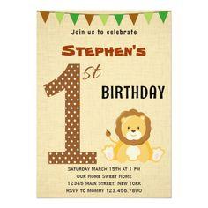 Cute Safari First Birthday Invitation