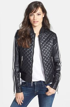 A leather jacket with some personality.  BCBGMAXAZRIA 'Morgan' Quilted Faux Leather Bomber Jacket | Pretty Little Liars