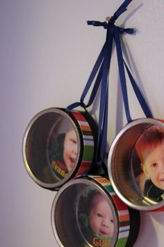 Dollar Store Photo Tin Ornaments by Heather @Dollar Store Crafts: These photo ornaments cost less than $.50 each to make! One of my favorite supplies from the dollar store is the 3-pack of metal tins in the wedding section. Use it to make a unique little window ornament to showcase your kids photos. With a bit of glue & some ribbon, these ornaments cost und .50 to make. If you don't have kids, you can use any photos or mementos to make unique ornaments...