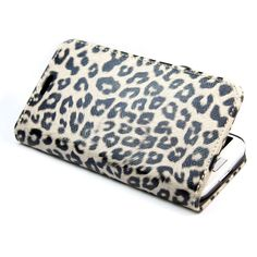Leopard Wallet Stand Leather with Credit Card Holder Case Cover for Samsung Galaxy S4