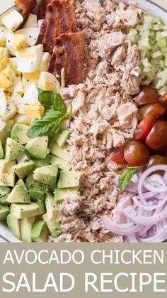 May 2019 - Egg Avocado Chicken Salad Recipe. This salad is everything you'd want in a salad. Chicken with avocado, bacon, eggs, and tomatoes in a creamy Dijon mayo dressing. Enjoy the chicken salad in a sandwich, as a side salad or lettuce wraps. Creamy Cucumber Salad, Creamy Cucumbers, Avocado Chicken Salad, Chicken Salad Recipes, Healthy Salad Recipes, Chicken Salad Sandwiches, Simple Salad Recipes, Lettuce Salad Recipes, Avocado Egg Salad