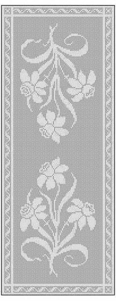 This is a rectangular filet crochet charted pattern designed for use as a table runner but adaptable to different sizes.