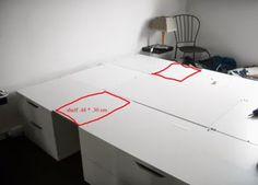 Materials: Stolmen chests and Lack tables  Description: Living in a small one bedroom apartment, We needed a solution to put all our clothes in a single s
