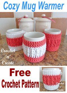 Crochet Tutorial Ideas Crochet cozy mug warmer, free crochet pattern. Crochet Coffee Cozy, Crochet Cozy, Crochet Gifts, Diy Crochet, Coffee Cozy Pattern, Crochet Ideas To Sell, Coffee Cup Cozy, Tutorial Crochet, Holiday Crochet