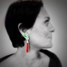 """#scavia #jewel #jewelry #jewels #jewellery #elegant #earrings #white #gold #gems #green #jade #diamonds #coral #precious #design #madeinitaly…"""