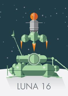 Luna 16  - 1969 Soviet sample return moon lander and winner of the most phallic spacecraft of the 20th Century award.   Illustration available as posters, prints, stickers, notebooks and more... http://rdbl.co/2kajzYq