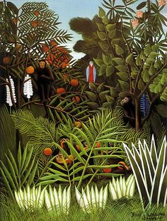 """Henri Rousseau """"Exotic Landscape"""" 1908 oil on canvas 116 × 89 cm (45.7 × 35 in) Private collection"""