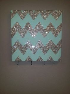 Chevron Glitter Wall Art With Hooks To Hang Keys Or Jewelry