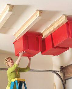 Garage Ceiling Sliding Storage http://www.handimania.com/diy/garage-ceiling-sliding-storage.html