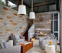 Hillside dwelling in Austin features modern barn-inspired elements Resin Patio Furniture, Home Decor Furniture, Outdoor Furniture Sets, Rustic Basement Bar, Basement Bar Designs, Stone Accent Walls, Modern Barn, Modern Country, Modern Rustic