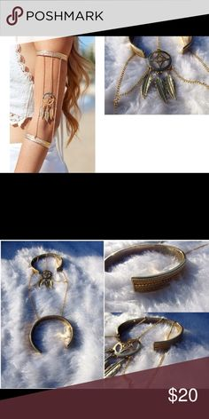 """Dream Catcher Gold Double Arm Cuff - Arm Cuff Bracelet  - Dream Catcher Detail  - Chain  - Top And Bottom Cuff  - One Size  - 8"""" Chain  - 7'5"""" Top Cuff  - 6.5"""" Bottom Cuff  - 2"""" Opening  - Fits Most Arms Thats so trendy Jewelry Bracelets"""