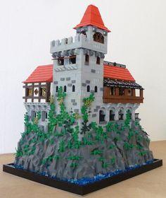 Castle courtyard corner I Minecraft Castle Blueprints, Lego Minecraft, Lego Moc, Minecraft Construction, Minecraft Stuff, Lego Lego, Lego Batman, Minecraft Skins, Minecraft Buildings