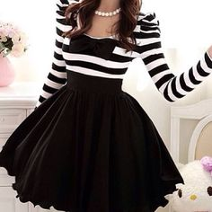 Stripped top with bow :) fluffy black skirt
