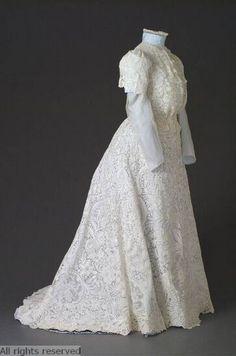 Dress: ca. 1900-1910, Belgian, cotton, needle lace, pillow lace. OPEN FASHION ID 6594