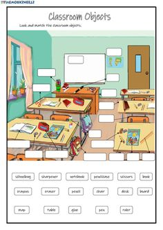 30 Classroom Worksheets Classroom Objects online worksheet The children can enjoy Number Worksheets, Math Worksheets, Alphabet Worksheets, . English Worksheets For Kids, English Lessons For Kids, Kids English, English Activities, School Worksheets, Learn English, Teaching Activities, English Classroom, Classroom Language