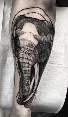 Black Elephant Tattoo