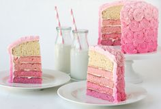 pink ombre cake...  i really want this for my wife's birthday cake~~ :)