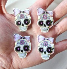 4 pcs - Miss Sugar Skulls Planar Acrylic Resin Laser Cut Flatbacks - 30mm - Day of the Dead - Dia de los Muertos - Decoden - Spooky