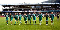 HamKam players celebrating after the victory over Sogndal at Fosshaugane Campus June 9th 2007.