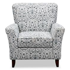 "Putting The ""Living"" Into Your Living Room Furniture White Accent Chair, Blue Accent Chairs, Patterned Chair, Living Room Seating, Accent Chairs For Living Room, Value City Furniture, Furniture Design, Furniture Making, Living Room Designs"