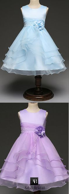 Wonderful Organza Jewel Neckline Ankle-length A-line Flower Girl Dresses With Beaded Handmade Flowers & Belt